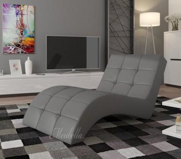 Chaise longue - Lauren - Grijs - Leer