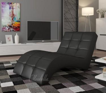 Chaise longue - Lauren - Zwart - Leer