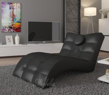 Chaise longue - Lester - Zwart - Leer