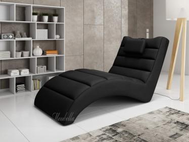 Chaise longue - Liam - Zwart - Leer