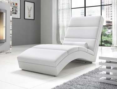 Chaise longue Cabernet - Wit - Leer