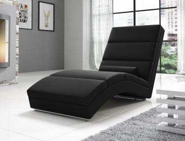 Chaise longue Cabernet - Zwart - Leer