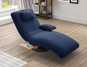 Chaise longue Evan - Blauw - Velvet