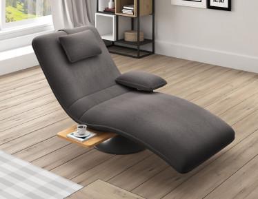 Chaise longue Evan - Grijs - Stof