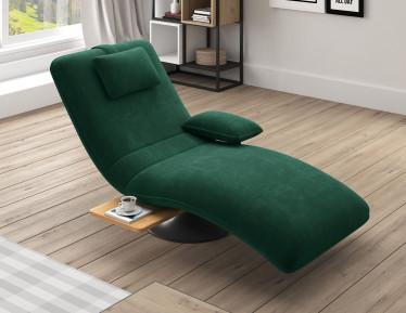 Chaise longue Evan - Donkergroen - Velvet