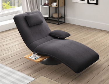 Chaise longue Evan - Donkergrijs - Stof