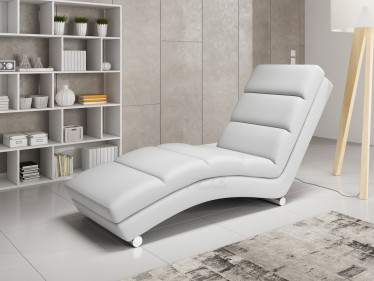 Chaise longue Ibiza - Wit - Leer