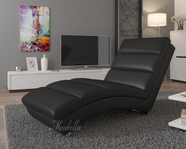 Chaise longue Ibiza - Zwart - Leer