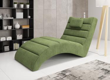 Chaise longue Liam - Groen - Stof - ACTIE