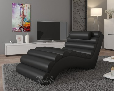 Chaise longue Mason - Zwart - Leer