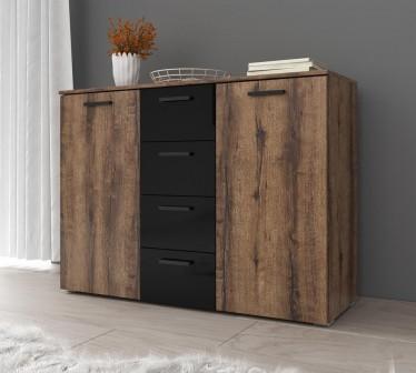 Commode Brown - Zwart - Eiken - 132 cm