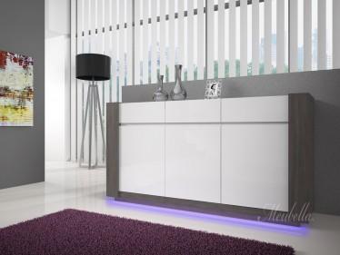 Dressoir Arulo met LED - Grijs eiken - Wit - 173 cm