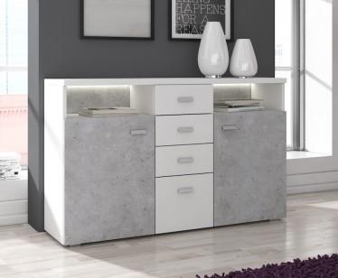 Dressoir Bello - Beton - Wit - 140 cm - ACTIE