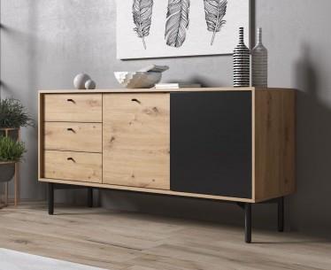 Dressoir Fiona - Eiken - Zwart - 151 cm