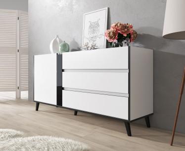 Dressoir Fresh - Wit - Zwart - 150 cm