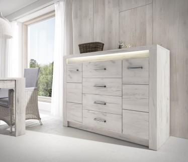 Dressoir Invido - Wit - 137 cm - met LED-verlichting - ACTIE