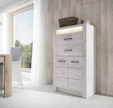 Dressoir Invido - Wit - 137 cm - Hoog