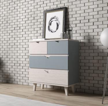 Dressoir Macon - Blauw - Wit - 81 cm