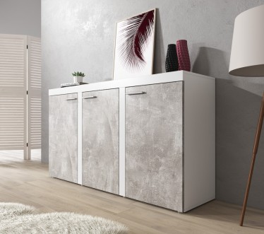 Dressoir Rovila - Betonlook - Wit - 149 cm