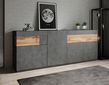 Dressoir Sublime - Grijs - Eiken - 219 cm