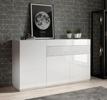 Dressoir Sublime - Wit - Betonlook - 150 cm