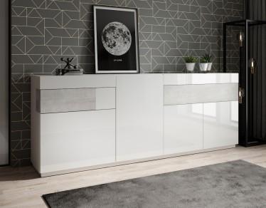 Dressoir Sublime - Wit - Betonlook - 219 cm