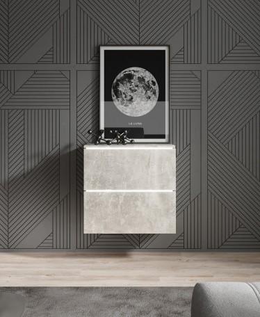 Dressoir Verity 2 - Betonlook - 60 cm - Hangend of Staand - ACTIE