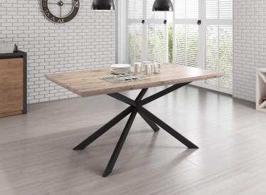 Eetkamertafel Cormac 160 - Licht eiken - Zwart - Showroommodel