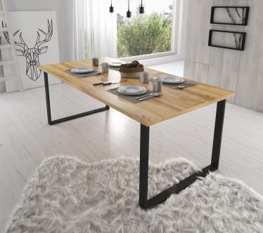 Eetkamertafel Harlow - Eiken - Zwart - 200 cm