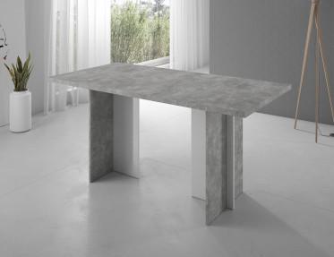 Eetkamertafel Soft - Betonlook - Wit - 160 cm