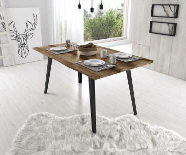 Eetkamertafel Evi 160 - Eiken - Zwart (boomstamtafel)
