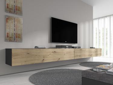 TV-Meubel Flame - Eiken - Grijs - 320 cm