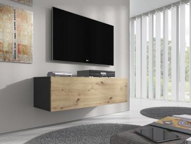 TV-Meubel Flame - Eiken - Grijs - 100 cm - ACTIE