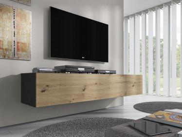 TV-Meubel Flame - Eiken - Grijs - 160 cm
