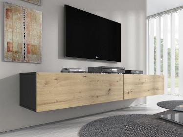 TV-Meubel Flame - Eiken - Grijs - 200 cm - ACTIE