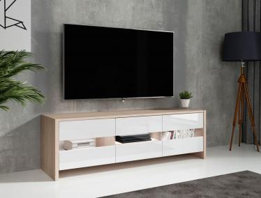TV-Meubel Frido - Licht eiken - Wit - 139 cm - ACTIE