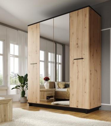 Kledingkast Incala - Eiken - Zwart - 180 cm
