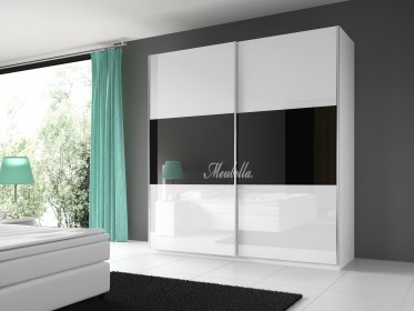 Garderobekast Rivalo - Zwart - Wit - 200 cm - Showroommodel