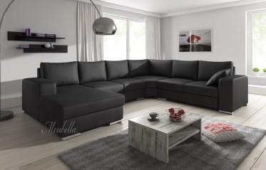 Hoekbank Adel - Zwart - Leer - Links - Showroommodel