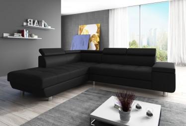 Hoekbank Destiny - Zwart - Leer - Links - Showroommodel