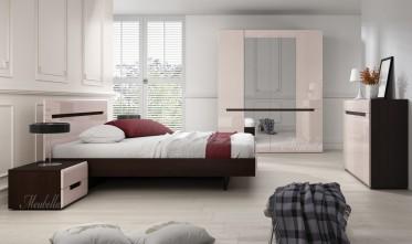 Slaapkamer Homer 160 - Creme - Wenge - Groot