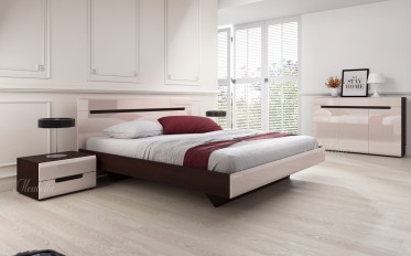 Slaapkamer Homer 160 - Creme - Wenge - Klein