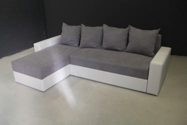 Hoekbank Annabel - Grijs - Wit - Links Showroommodel