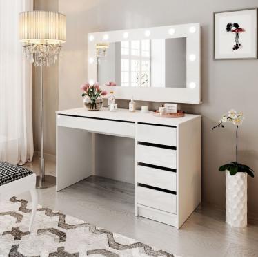 Kaptafel Arco - Wit - 120 cm - met spiegel