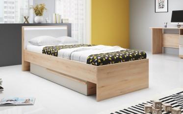 Kinderbed Hovi - LED - Wit - Licht eiken - Champagne - 90 x 200 cm