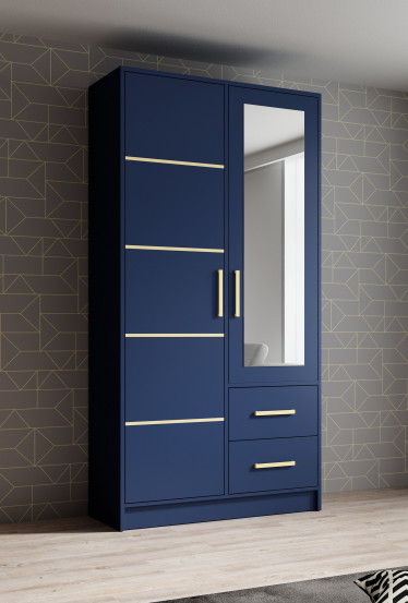 Kledingkast Blur - Blauw - 103 cm