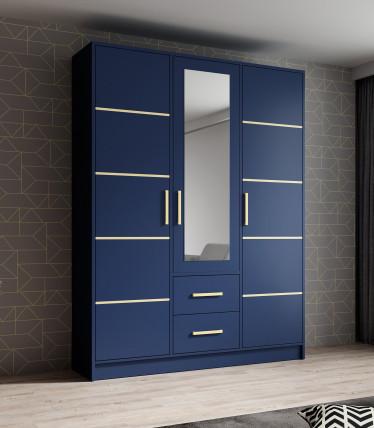 Kledingkast Blur - Blauw - 153 cm