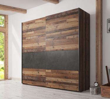 Kledingkast Cade - Eiken - Grijs - 220 cm