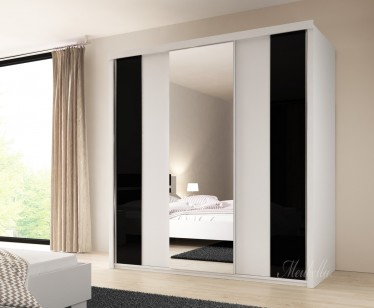 Kledingkast Dual - Wit - Zwart - 221 cm