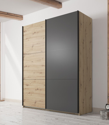 Kledingkast Felice - Eiken - Grijs - 180 cm - zonder spiegel